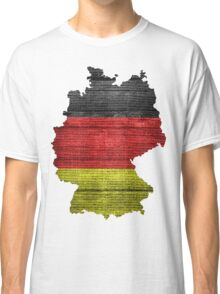 Germany Flag and Map Burlap Linen Rustic Jute Classic T-Shirt