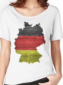 Germany Flag and Map Burlap Linen Rustic Jute Women's Relaxed Fit T-Shirt