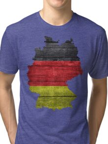 Germany Flag and Map Burlap Linen Rustic Jute Tri-blend T-Shirt