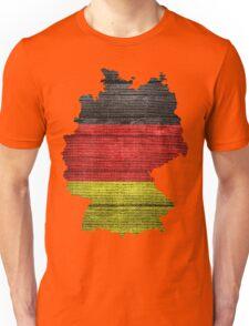Germany Flag and Map Burlap Linen Rustic Jute Unisex T-Shirt