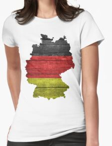 Germany Flag and Map Burlap Linen Rustic Jute Womens Fitted T-Shirt