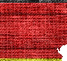 Germany Flag and Map Burlap Linen Rustic Jute Sticker