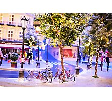 Mini-Streets: Double Bicycles Photographic Print