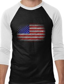 American Flag Grunge on Burlap Linen Rustic Jute Men's Baseball ¾ T-Shirt