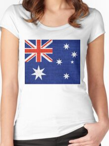 Australia Flag Burlap Linen Rustic Jute Women's Fitted Scoop T-Shirt