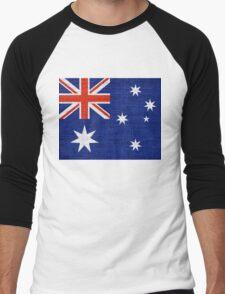 Australia Flag Burlap Linen Rustic Jute Men's Baseball ¾ T-Shirt