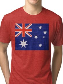 Australia Flag Burlap Linen Rustic Jute Tri-blend T-Shirt