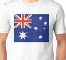 Australia Flag Burlap Linen Rustic Jute Unisex T-Shirt