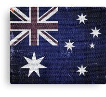 Vintage Australia Flag Burlap Linen Rustic Jute Canvas Print
