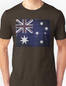 Vintage Australia Flag Burlap Linen Rustic Jute Unisex T-Shirt