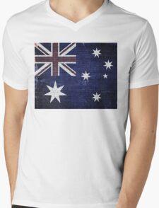 Vintage Australia Flag Burlap Linen Rustic Jute Mens V-Neck T-Shirt