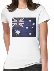 Vintage Australia Flag Burlap Linen Rustic Jute Womens Fitted T-Shirt