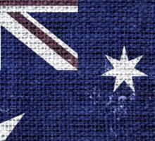 Vintage Australia Flag Burlap Linen Rustic Jute Sticker