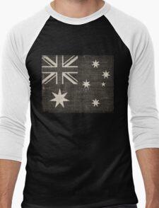 Old Australia Flag Burlap Linen Rustic Jute Men's Baseball ¾ T-Shirt