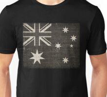 Old Australia Flag Burlap Linen Rustic Jute Unisex T-Shirt