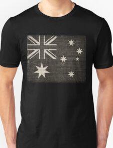 Old Australia Flag Burlap Linen Rustic Jute T-Shirt