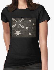 Old Australia Flag Burlap Linen Rustic Jute Womens Fitted T-Shirt