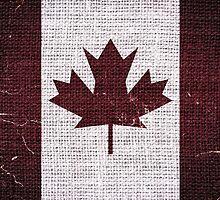Vintage Canada Flag Burlap Linen Rustic Jute by Nhan Ngo