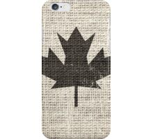 Old Canada Flag Burlap Linen Rustic Jute iPhone Case/Skin