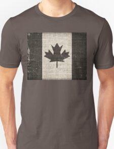 Old Canada Flag Burlap Linen Rustic Jute T-Shirt