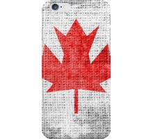 Vintage Canada Flag on Burlap Linen Rustic Jute iPhone Case/Skin