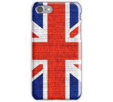 Britain Flag Burlap Rustic Jute iPhone Case/Skin