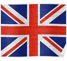 Britain Flag Burlap Rustic Jute Poster