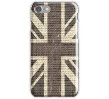 Vintage Britain Flag Burlap Rustic Jute iPhone Case/Skin