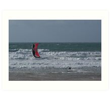 kite-surfing at Watergate Bay Art Print