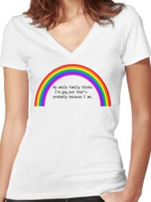 My Family Thinks I'm Gay Women's Fitted V-Neck T-Shirt