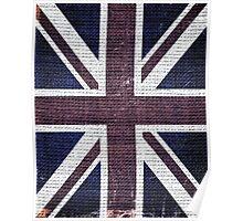 Vintage Britain Flag Burlap Rustic Jute #2 Poster