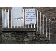 New Lanark: There shall be no human slavery, servitude, or inequality Photographic Print