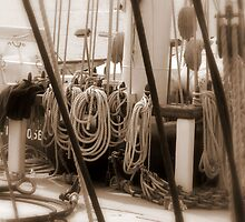Leeuwin Belaying in Sepia by Larry Lingard/Davis