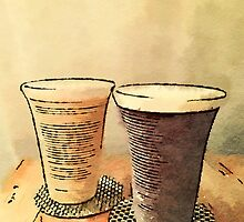 Still Life Pair Earthenware Ceramic Pottery Cups by Beverly Claire Kaiya