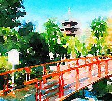 Kawasaki Daishi Bridge and Five-Storied Pagoda by Beverly Claire Kaiya
