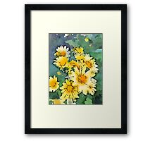 Yellow Daisies Digital Watercolor Framed Print
