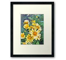 Yellow Daisies Digital Watercolor Framed Print