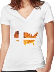 American Smash Ball Women's Fitted V-Neck T-Shirt