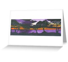 Sunset on Purple Water Greeting Card