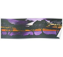 Sunset on Purple Water Poster