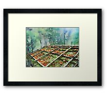 Forest Hut Roof with Moss and Fallen Autumn Leaves Framed Print
