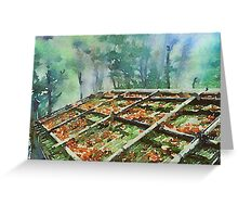 Forest Hut Roof with Moss and Fallen Autumn Leaves Greeting Card