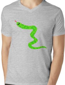 Green Snake Mens V-Neck T-Shirt