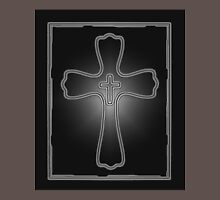 Gray Black and White Glowing Framed Cross Simple Design Unisex T-Shirt