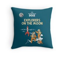 Doge to the Moon - The adventures of Shiba, Such moon, WOW  (Design for Dark Background) Throw Pillow
