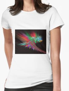Feathery Bouquet on Black - Abstract Art Womens Fitted T-Shirt