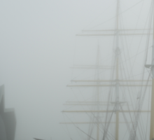 Glasgow Riverside Museum and Tall Ship Glenshee in thick fog Sticker