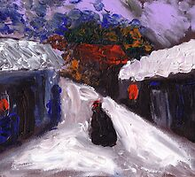 Country snowscene abstract finger painting by sword