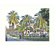 Streetscape with Palmes Art Print