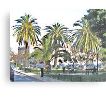 Streetscape with Palmes Metal Print